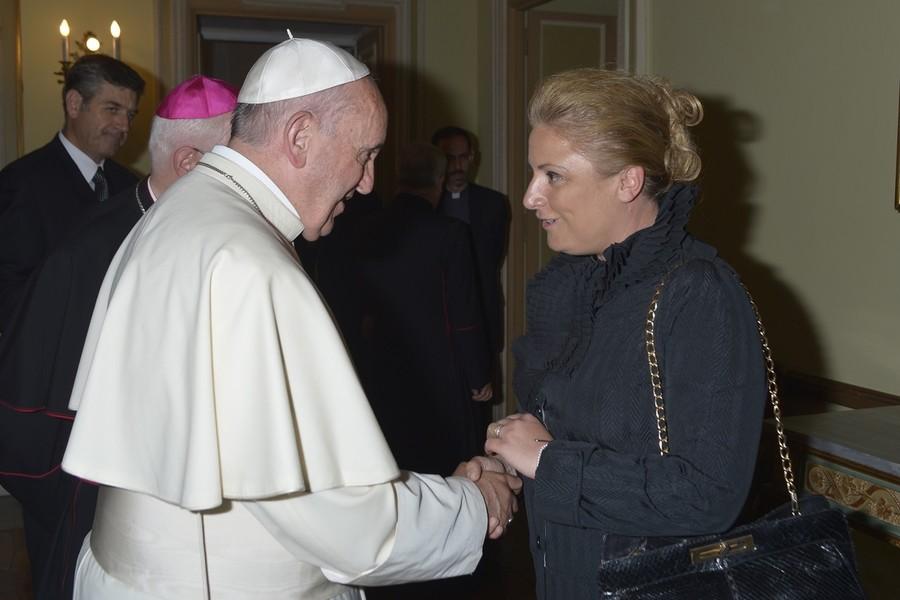 Alessandra Giani con PapaFrancesco