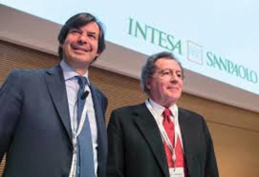 Il ceo Carlo Messina col presidente Gian Maria Gros-Pietro